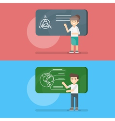teacher at the lesson of geometry and geography vector image