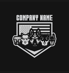 5 dog usa flage shield security vector