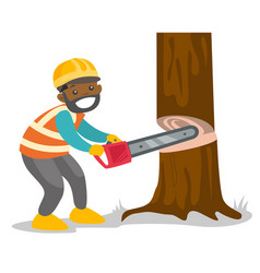 African-american woodcutter working with chainsaw vector