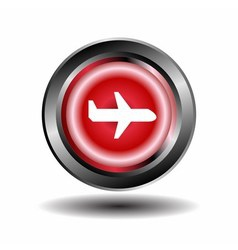 Airplane red circle web glossy icon vector