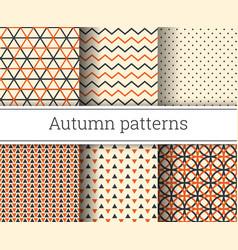 autumn seamless patterns set vector image