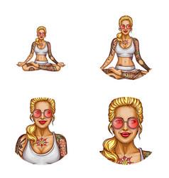 avatar tattooed girl doing yoga vector image