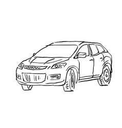 Black and white hand drawn car on white background vector