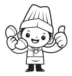 black and white happy chef mascot thumbed up a vector image