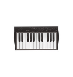Black synthesizer rock music instrument keyboard vector