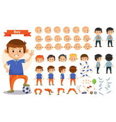 Boy kid playing football and toys cartoon vector
