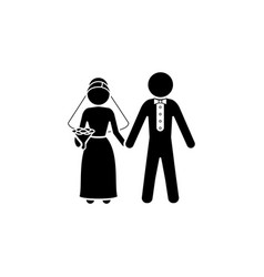 bride and groom icon newlyweds icon black vector image