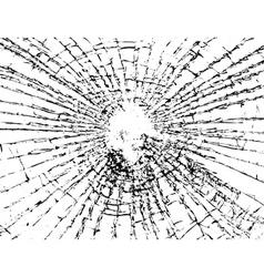 Broken glass grunge texture white black vector image