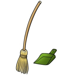 Broom and scoop vector