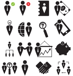 business human icons set vector image