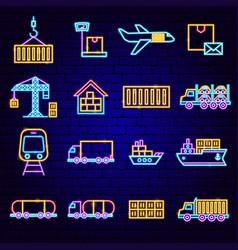 Cargo express neon icons vector