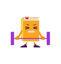 Cartoon book character lifting barbell vector