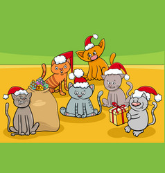 Cartoon kittens characters group on christmas time vector