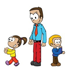 cartoon of a father playing with kids vector image