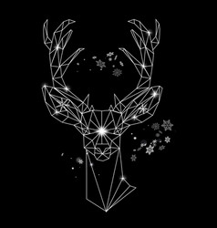 christmas geometric outline portrait a deer vector image