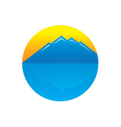 circle mountain sunset logo vector image