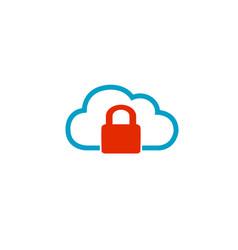 cloud lock logo vector image