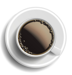coffee cup top view hot americano coffee vector image