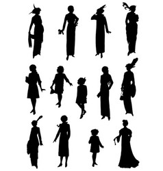 Collection silhouettes court ladies vector
