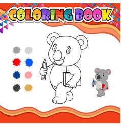 Coloring book koala holding pencil and book vector