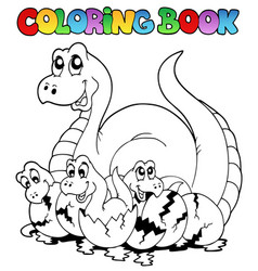 coloring book with young dinosaurs vector image
