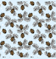 cones and branches christmas seamless pattern vector image