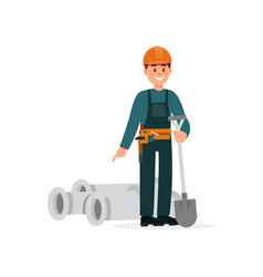 construction worker in overalls and protective vector image
