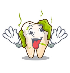 Crazy cartoon decayed tooth with dental caries vector