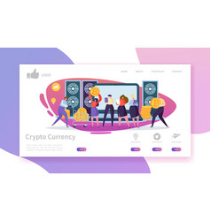 Crypto currency exchange landing page template vector