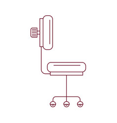 Dark red line contour of office chair side view vector