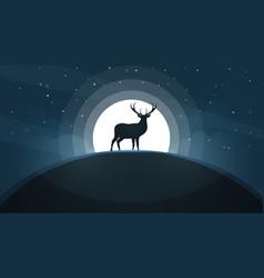 Deer on the hill - cartoon landscape vector