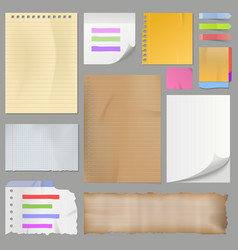 different clean paper sheets realistic style notes vector image