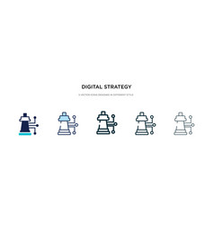 Digital strategy icon in different style two vector