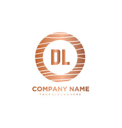 Dl initial letter circle wood logo template vector