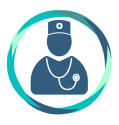doctor icon with stethoscope in abstract circle vector image