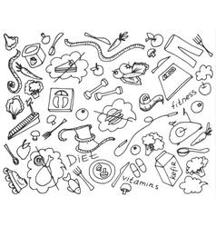 Doodle set of diet vector