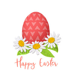 easter red egg and daisy wreath decorated festive vector image