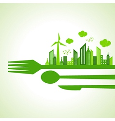 Eco city-escape on restaurant cutlaries vector
