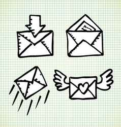 Email doodle icons vector