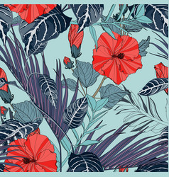 exotic leaves blue liana branches hibiscus vector image