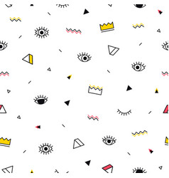 Eyes pattern with yellow crown and geometric vector