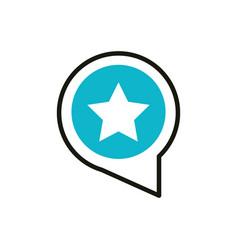 favorite speech bubble social media icon line and vector image