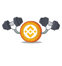 Fitness binance coin character catoon vector