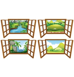 Four nature scenes from the window vector