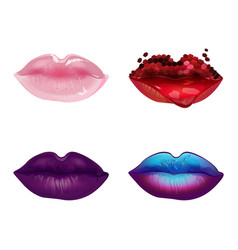 Four styles of make-up lips vector