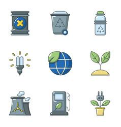Global energy icons set cartoon style vector