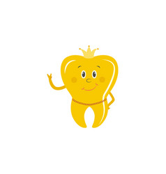 golden tooth crown cartoon character stands vector image