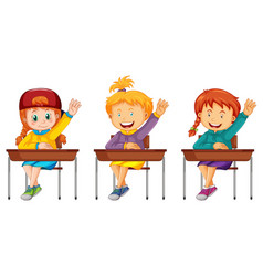 group children on white background vector image