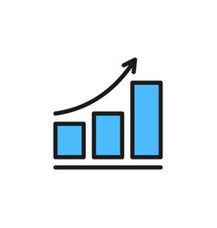 growing schedule flat color icon isolated vector image