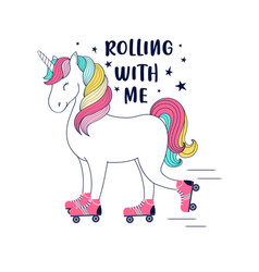 hand drawing print design unicorn and slogan vect vector image